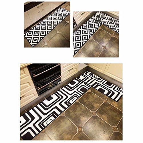 HAPPY-CARPET Tappeto Moderno per tappeti da Cucina Tappeto Antiscivolo  Tappeto antiolio Tappeto Impermeabile, 50 X 120 CM (19.6 X 35.4 \'\'), Nero
