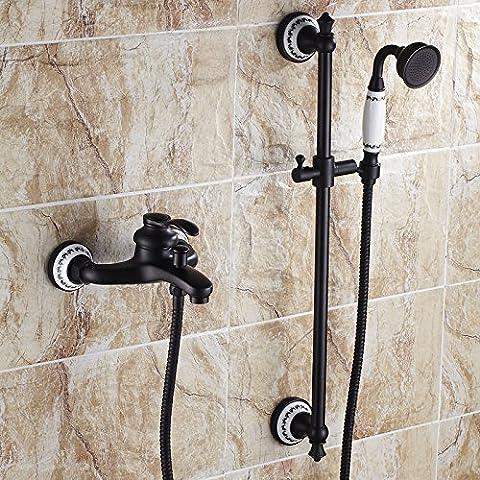 Sdkky européen en cuivre antique Noir Bleu et blanc en porcelaine de salle de bain baignoire robinet de douche chaude et froide