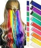 Perücke Stücke für Puppen Farbige Haarverlängerungen Clip für Mädchen und Kinder Mehrfarbige Puppen Haarschmuck 9 PCS (Regenbogenfarbe)
