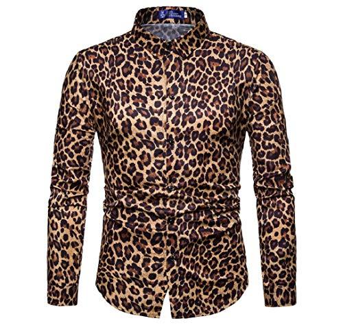 GreatFun Camisa Impresa Mens Moda Leopardo impresión Impreso Blusa Casual Manga Larga Slim Camisas Tops algodón Primavera Verano sólido Color Sexy Caliente Popular algodón