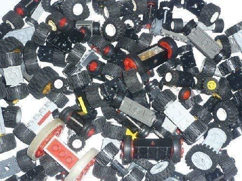 LEGO Räder Set 10 Stück komplett mit Achse TOP Rad Reifen (Räder Lego)