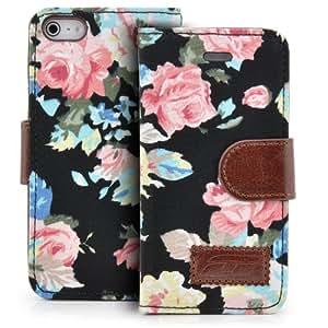Saxonia Deluxe Tasche für Apple iPhone SE / iPhone 5 / 5S Blumen Handy Flip Case Schutz Hülle mit Visitenkarten Fächer und Magnetverschluss