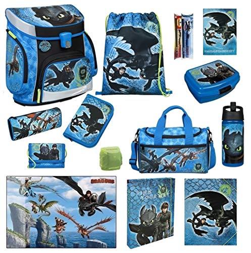 Familando Scooli Schulranzen-Set 16 TLG. Dragons - Drachenreiter von Berg - mit Federmappe, Sporttasche und Regenschutz Drache Ohnezahn