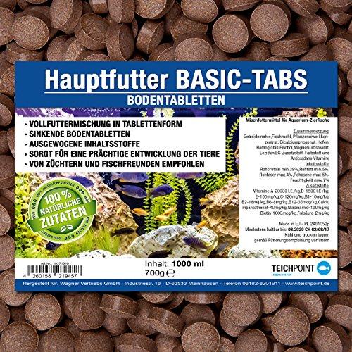 Basic-Tabs PREMIUM Futtertabletten (Hauptfutter für alle Zierfische in Tablettenform) - sinkende Bodentabletten im 1 Liter Beutel