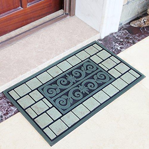 MKKM Europäischen Stil Villa Matten Fußmatte Foyer Personalisierte Mode Tür Gummimatte Tür Reiben Fußmatte,Edle grüne Rebe,45 × 75 (Reben Teppich Grüner)