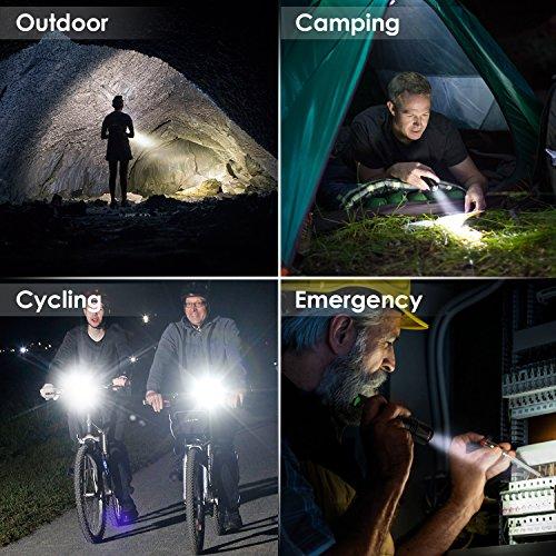Albrillo Super Helle LED Taschenlampe Cree LED 400 Lumen mit 150m Reichweite und 5 Lichtmodi, Zoombar und Batteriebetrieben, Tragbar Design für Outdoor Sport