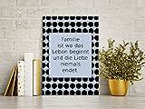 GRAZDesign 100879_DINA4 Wandbild mit Spruch Familie ist Wo Das Leben Beginnt und die Liebe Niemals endet | Deko-Wandschild/Türschild (Din A4)