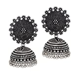 I Jewels Oxidized Silver Plated Jhumki / Jhumkas Earrings for Women (E2552B)