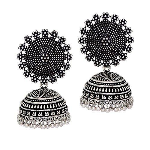I Jewels Oxidized Silver Plated Jhumki / Jhumkas Earrings for Women (E2552B)