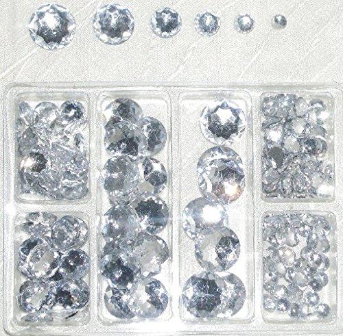 bastelkoerble ® Acryl - Strassstein - Diamanten - Schmucksteine sortiert flach in 6 Größen - 6,8,10,12,16 und 18mm, ca.230Stueck zum Aufkleben
