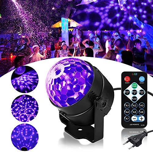 UV Beleuchtung Discokugel SOLMORE LED Lichteffekte Disco Licht Partylicht mit Fernbedienung und Soundkontrolle 3W Bühnenlicht für Dekoration Party Bar Club Disco Karneval - Druckguss-wand-halterung