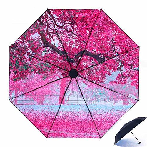 BiuTeFang Ombrello Più spesso ombrelli rinforzati Sakura nero ombrello protezione solare protezione UV Ombrellone Vinyl ombrello pieghevole 56x96cm