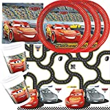 37-teiliges Disney PIXAR Party-Set Cars 3 - Teller Becher Servietten Tischdecke für 8 Kinder
