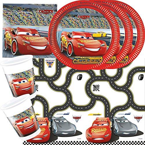 37-teiliges Disney PIXAR Party-Set Cars 3 - Teller Becher Servietten Tischdecke für 8 Kinder