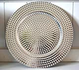 Dekoteller Tablett Kunststoff Deko Dekoration Tischdeko Platzteller Kerzenteller silber ca. 32cm