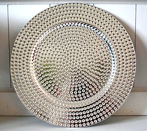 Dekoteller Tablett Kunststoff Deko Dekoration Tischdeko Platzteller Kerzenteller silber ca. 32cm (Kunststoff-silber Tablett)