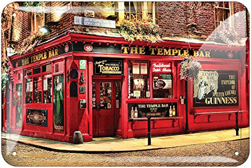 Metal Sign Of the Famous Irish Bar The Temple Bar, Renowned For Its Whiskey