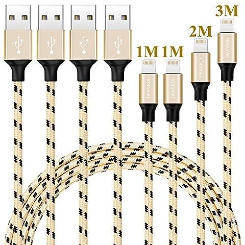 iPhone Ladekabel, IWAVION 4Pack 1M 1M 2M 3M Lightning Kabel USB Kabel Aufgeladen Lange Kabel auf iPhone7,7plus, 6s, 6s plus, 6plus, 6, SE, 5s 5c 5, iPad Mini/Air iPad5, iPod Schwarz&Gold