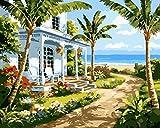 Fuumuui Lienzo de Bricolaje Regalo de Pintura al óleo para Adultos niños Pintura por número Kits Decoraciones para el hogar -Casa Junto al mar 16 * 20 Pulgadas