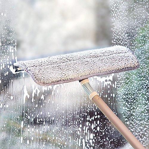 Elvoes - Rakel mit Mikrofaser-Schwamm zur Fensterreinigung, ausziehbarer Fensterwischer mit Stange; für Haus, Auto, Scheiben