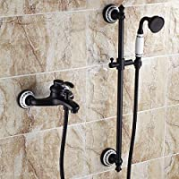Sdkky europeo rame antico nero blu e bianco porcellana rubinetto vasca da bagno caldo e freddo doccia