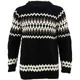 LOUDelephant Chunky Wool Knit Abstract Pattern Jumper Fairisle Space Dye Pattern Pullover Sweater 100% Pure Wool Nepal