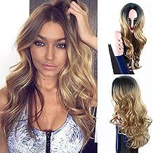 Royalvirgin Ombre color 1B / rubio largo rizado peluca a prueba de calor peluca sintética peluca