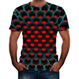 Summer Men's Short Sleeve T-Shirt Round Neck 3D Graphic Printed Honeycomb Tops for Gym Sport Casual Wear Pullover Tees