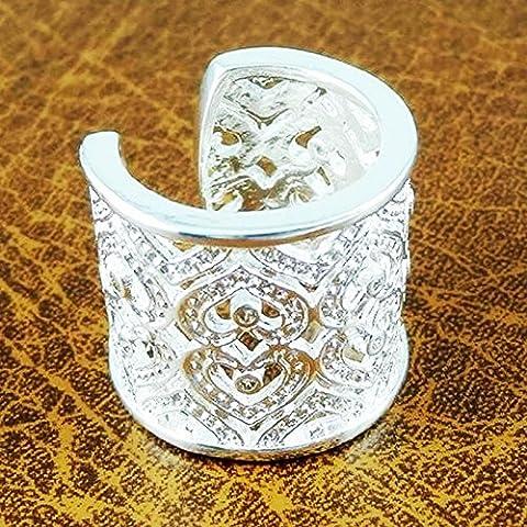 Skyllc® De las mujeres plateadas plata ahueca hacia fuera los anillos del corazón