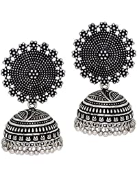 I Jewels Oxidized Silver Plated Jhumki/Jhumkas Earrings for Women (E2552B)