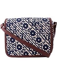 Tjori Brown Leather Sling Bag With Blue & White Floral Bagru Prints