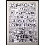 Cómo largo se I Love You Ellie Goulding canción letras Vintage diccionario Impresión Arte