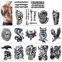Tatuajes temporales para adultos hombres, Konsait Grande Tatuaje Temporales temporär Tattoo tatuaje cuerpo pegatinas Brazo pecho y espalda - León, cráneo muerto, águila halcones Diseños tribal