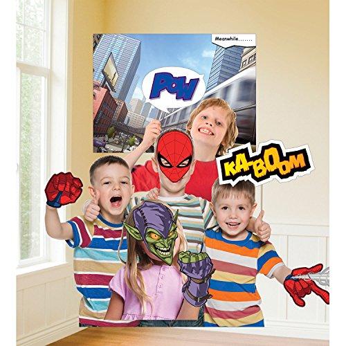 Amscan 9902788 Spider-Man Fotorequisiten-Set, Mehrfarbig