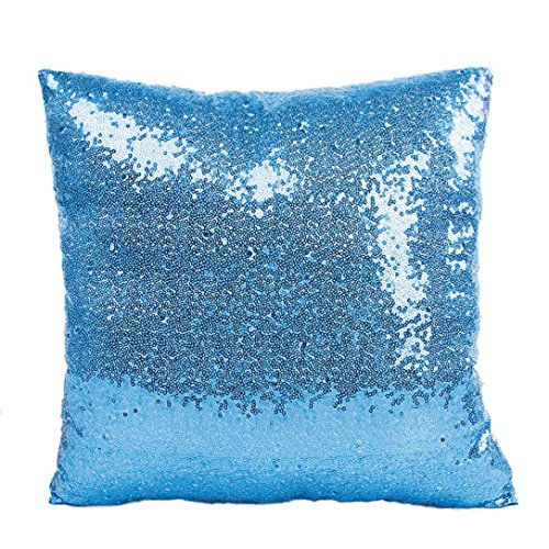 Indexp Glitter Sequins Solid Color Pillowcase Home Decor Sofa Cushion Cover (Sky Blue)