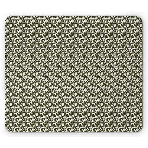Olivgrüne Mausunterlage,Hand Gezeichnetes Olivenbaum-Niederlassungs-Weinlese-Art-Natürliches Garten-Thema,Rutschfestes Gummi-Mousepad des Rechtecks