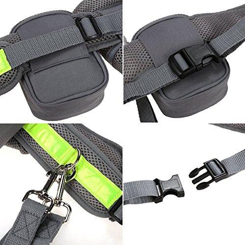 Cadrim Hunde Joggingleine mit verstellbarem Hüftgurt,elastische Bungee Leine zum handfreien Laufen/Fahrrad fahren,zusätzliche Tasche für Handy und Schlüssel etc. super zum Laufen, Joggen, Wandern und Markteinkauf,Schwarz/Weiß (Grau) - 5