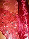 Générique Tissus ROUGE Organza ETOILES or argent tissu deco noel mariage au mètre nappe chemin de table déco largeur 150 cm