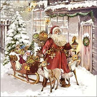 Ambiente Pack de 20 servilletas de Papel – 3 Capas, 33 x 33 cm – Navidad Visit