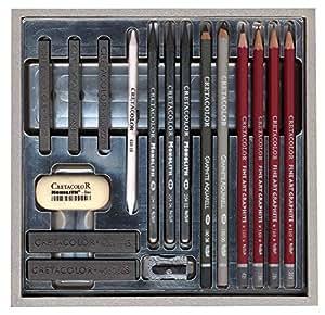Cretacolor 40017–Grafite di carattere set in scatola di legno, 17pezzi, argento