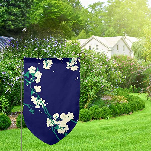 IconSymbol Garden Outdoor Flag Stand Banner Cherry Blossoms Navy Emerald Decorative Weather Resistant Double Stitched 18 x 12.5 Inch Blossom Navy