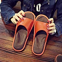 fankou Slippers Female Summer Home Home Interior Wooden Floor Men's Silent Couples Air Cool Slippers,37-38, Orange Red
