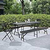 [casa.pro]®] Tischgruppe mit 2 Stühlen und Bänken grau Sitzgarnitur Gartenmöbel Camping Set Test
