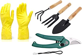 DeoDap Gardening Tools - Reusable Rubber Gloves, Flower Cutter/Scissor & Garden Tool Wooden Handle (3pcs-Hand Cultivator, Small Trowel, Garden Fork)
