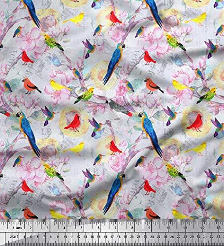 Soimoi Blau Baumwoll-Popeline Stoff Blüte, Papagei & Kolibri Vogel gedruckt Craft Fabric 1 Meter 56 Zoll breit - Kolibri-stoff