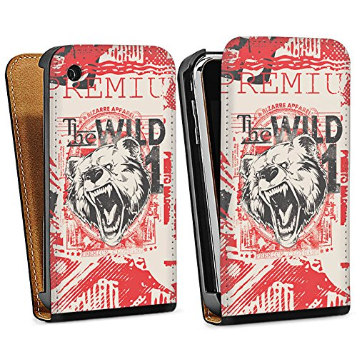 Apple iPhone 4 Housse Étui Silicone Coque Protection Ours Ours Animal Sac Downflip noir