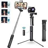 Mpow Perche Selfie Bluetooth, All en 1 Selfie Stick Trépied Bton de Selfie avec Télécommande Rechargeable et Lumière d…
