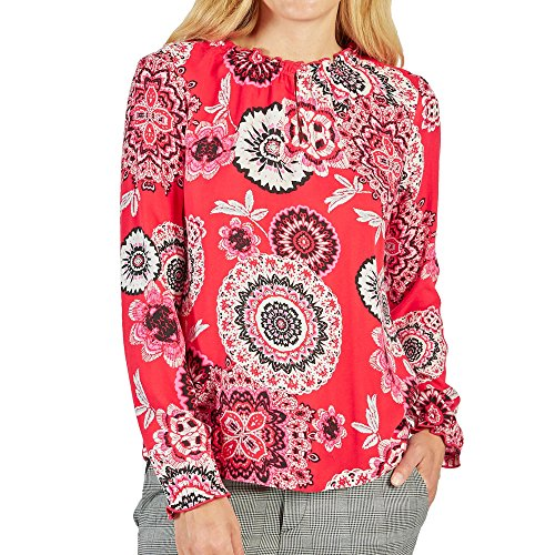 Comma CI 80.899.11.0399 Damen Bluse modisches florales Muster Gummizug am Hals, Groesse 38, rot/Gemustert