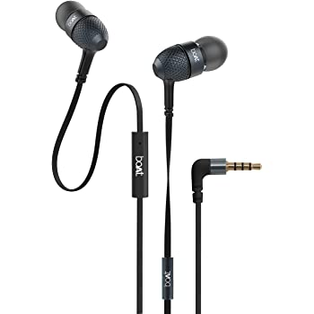 boAt BassHeads 220 Headphones with Mic (Black)