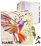 Unbekannt Tagebuch mit Schloss -  Vogel Kolibri - Design Turnowsky  - incl. Name - 2 Schlüssel - blanko weiß - 3-D Effekt Relief & Glanz Druck - Dickes Buch gebunden ..